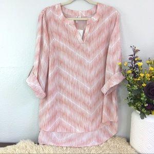 NWT Cato herringbone chevron tan sleeve blouse